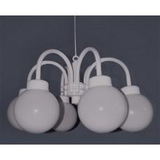 Parijse Hanglamp met 6 Opaal Witte Bollen Type Sixtet Verlichtingen