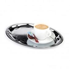Koffieplateau Ovaal Nikkelstaal | 23 x 31 cm. Serveerschalen