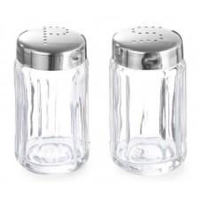 Peperstrooier Glas RVS Dop Per 6 Menage + Peper en Zout