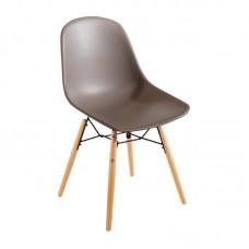 Bolero Arlo polypropyleen stoelen met houten poten bruin per 2