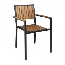 Bolero stalen en acaciahouten stoelen met armleuningen per 4