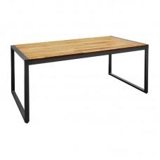 Bolero rechthoekige stalen en acaciahouten industriële tafel