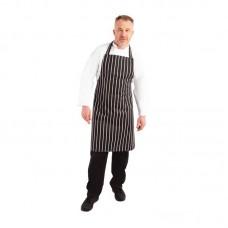 Whites slagerij halterschort zwart met witte strepen Schorten Horeca