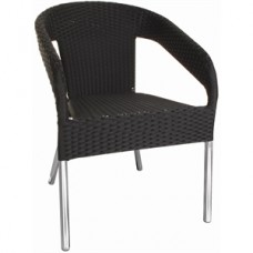 Bolero zwarte kunststof rotan stoel