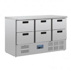 Polar Gekoelde Werkbank met 6 x GN1/1 Laden 205 Liter Koelwerkbanken