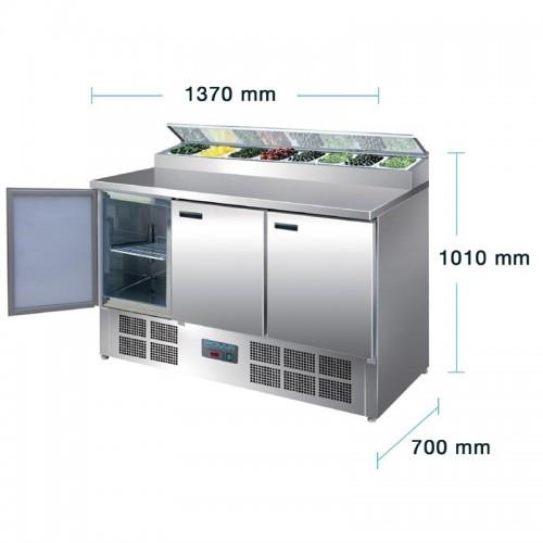 Polar gekoelde pizza/salade prepareer counter 390ltr Koelwerkbanken