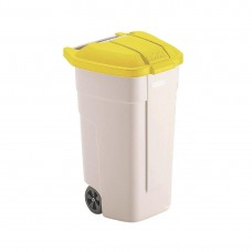 Rubbermaid rolcontainer met gele deksel Afvalcontainers