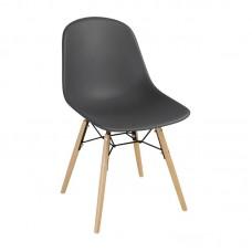 Bolero Arlo polypropyleen stoelen met houten poten grijs per 2
