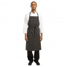 Chef Works Premium geweven schort zwart/wit gestreept Schorten Horeca