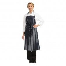 Chef Works Premium geweven schort blauw/wit gestreept Schorten Horeca
