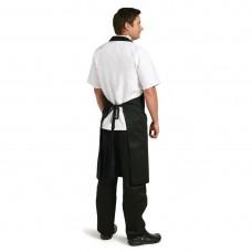 Whites halterschort polyester/katoen zwart XL Schorten Horeca
