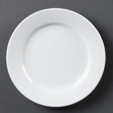 Olympia Whiteware Bord met Brede Rand Ø 16.5 cm.Per 12 Olympia Wit Porselein