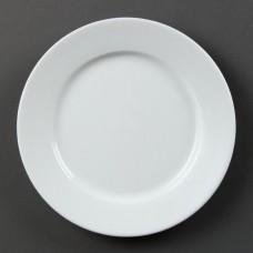 Olympia Whiteware Bord met Brede Rand Ø 20 cm. Per 12 Olympia Wit Porselein