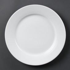 Olympia Whiteware Bord met Brede Rand Ø 25 cm. Per 12 Olympia Wit Porselein