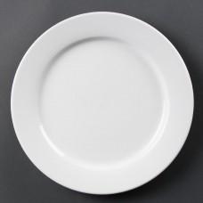 Olympia Whiteware Bord met Brede Rand Ø 28 cm. Per 6 Olympia Wit Porselein