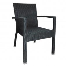 Bolero kunststof rotan stoel met armleuning antraciet (4 stuks)