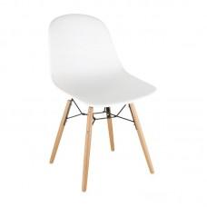 Bolero Arlo polypropyleen stoelen met houten poten wit per 2