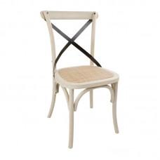 Bolero houten stoel met gekruiste rugleuning ecru per 2