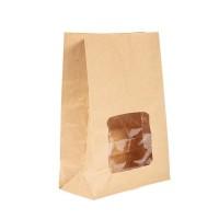 Vegware composteerbare gevoerde kraft sandwichzakken met kijkvenster per 250