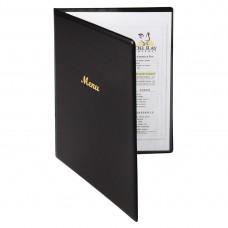 Menumap A4 zwart voor 2 pagina's Menumappen