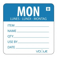Vogue oplosbare voedseletiketten daglabels maandag blauw Hygiene Dagstickers
