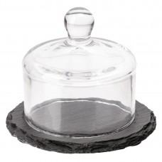 Slate botervloot met glazen deksel 105mm leisteen effect Buffetpresentatie