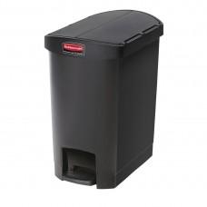 Rubbermaid Slim Jim pedaalemmer met pedaal aan zijkant 30ltr zwart Afvalbeheer