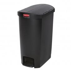 Rubbermaid Slim Jim pedaalemmer met pedaal aan zijkant 50ltr zwart Afvalbeheer