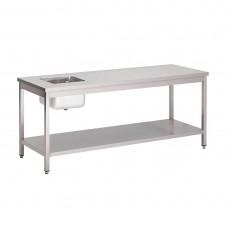 Gastro-M RVS cheftafel met onderblad 120x70x85cm RVS Werktafels