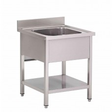 Gastro-M RVS spoeltafel met onderblad en achteropstand RVS Spoeltafel