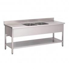 Gastro-M RVS spoeltafel met achteropstand en onderblad 200x70x85cm RVS Spoeltafel