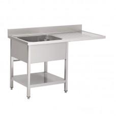 Gastro-M RVS spoeltafel met ruimte voor vaatwasmachine 120x70x85cm Vaatwasmachines