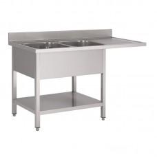 Gastro-M RVS spoeltafel met ruimte voor vaatwasmachine 160x70x85cm Vaatwasmachines