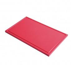 Gastro-M GN1/2 HDPE snijplank met sapgeul rood Snijplanken
