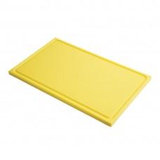 Gastro-M GN1/1 HDPE snijplank met sapgeul geel Snijplanken
