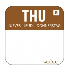 Kleurcode sticker donderdag/bruin Hygiene Dagstickers