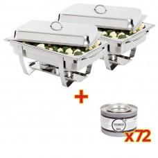 2 x Chafing Dish met 72 Blikjes Brandpasta Gel Chafing Dishes