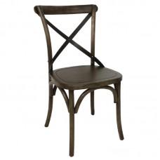 Bolero houten stoel met gekruiste rugleuning walnoot (2 stuks) Houten Stoelen