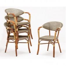 Bolero kunststof rotan stoelen met armleuning voor buiten (4 stuks)