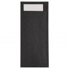 Europochette Kraft Zwarte  Bestekzakje met Wit Servet | 600 stuks  Disposables