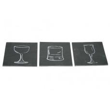 Leisteen Onderzetters met Glasafbeelding Per 6