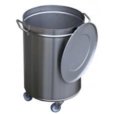 Gastro-M RVS Afvalemmer voorzien van Wielen | 50 Liter Afvalbakken