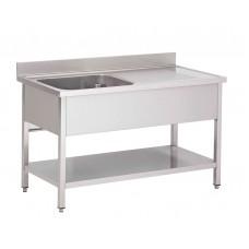 Gastro-M RVS spoeltafel met achteropstand en onderblad 120x70x85cm RVS Spoeltafel