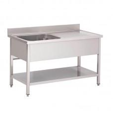 Gastro-M RVS spoeltafel met achteropstand en onderblad 140x70x85cm RVS Spoeltafel