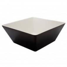 Melamine Vierkante Bak Zwart/Wit 24 cm.