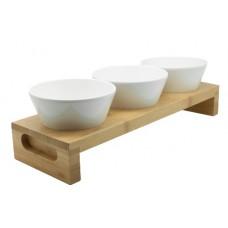 Bamboe Tray Incl. 3 Conische bakjes  Melamine Bakjes