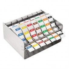 Kleurcode RVS stickerdispenser + stickers Hygiene Dagstickers